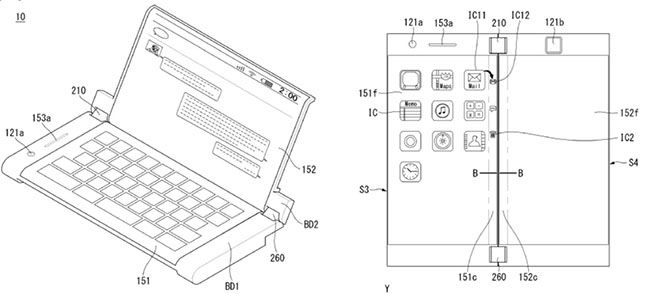 lg patents smartphone with dual folding displays and two