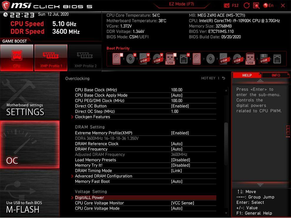 MSI MEG Z490 Ace Intel Comet Lake Motherboard BIOS
