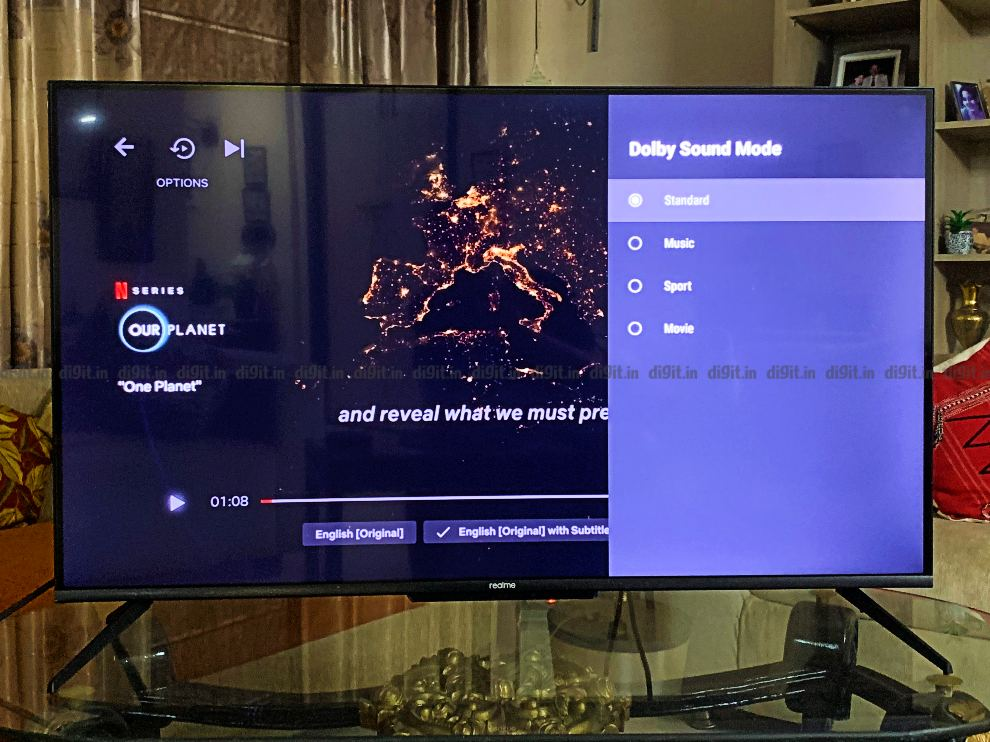 The TV comes with a bunch of different sound modes.