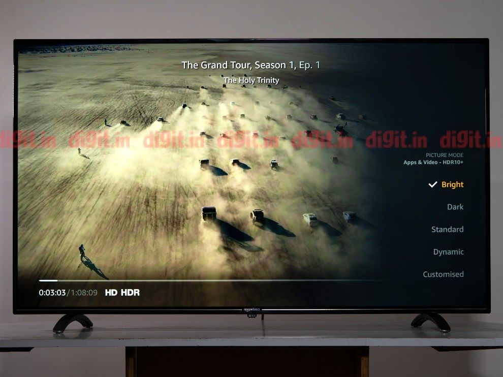 HDR settings on the AmzzonBasics 55-inch TV.