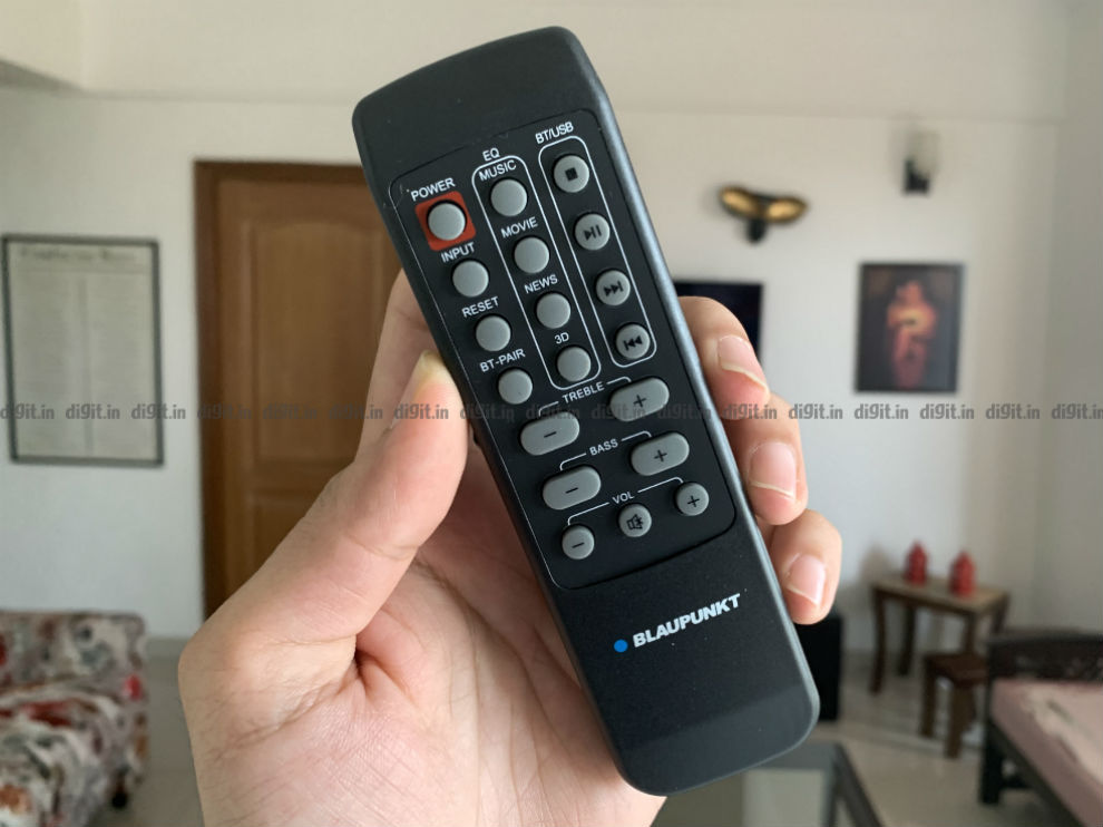 The remote control feels plasticky and cheap.