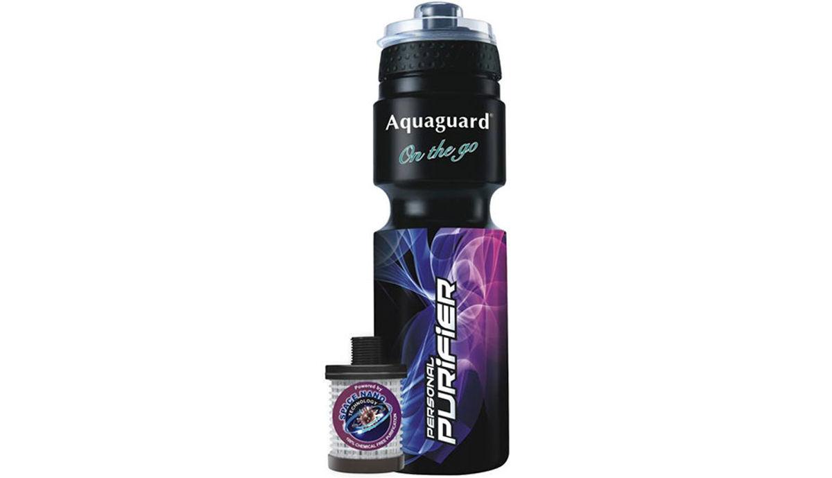 Aquaguard On the Go Portable 0.75 L Gravity Based Water Purifier (Black, Purple)
