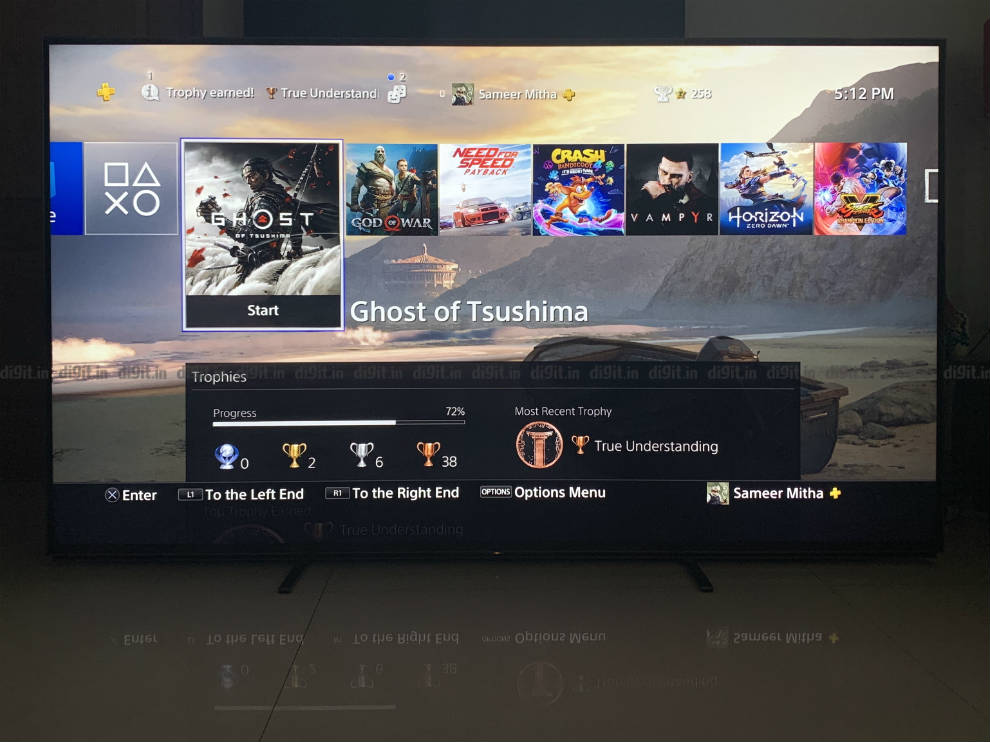 Gaming on the PS4 pro on the Sony Z8H.