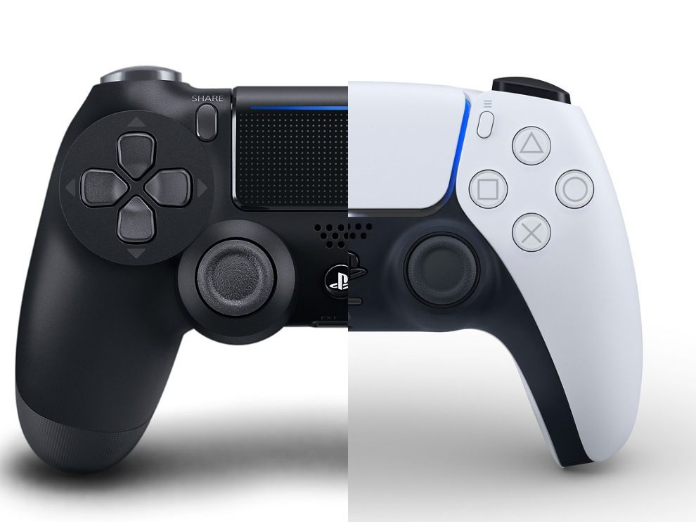 The DualShock 4 and DualSense controller, side by side