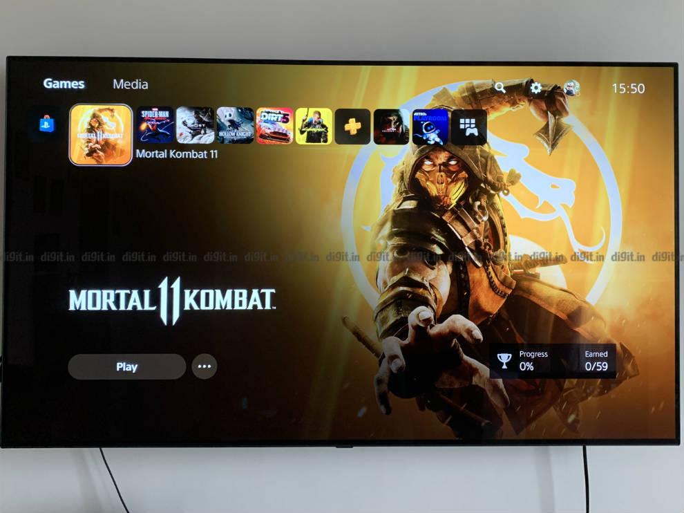 PS5 home screen UI