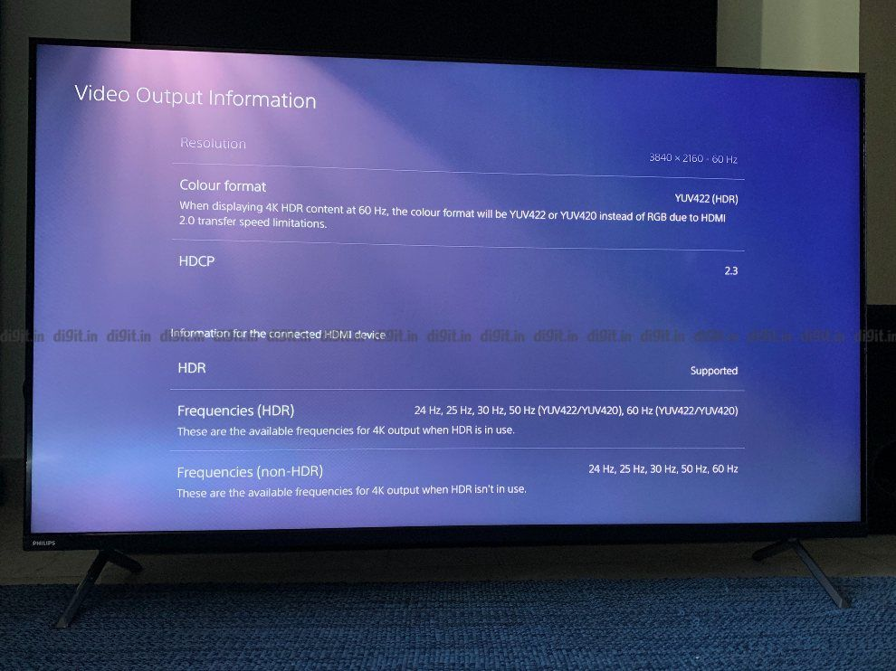 The Philips TV supports 4K at 60Hz.
