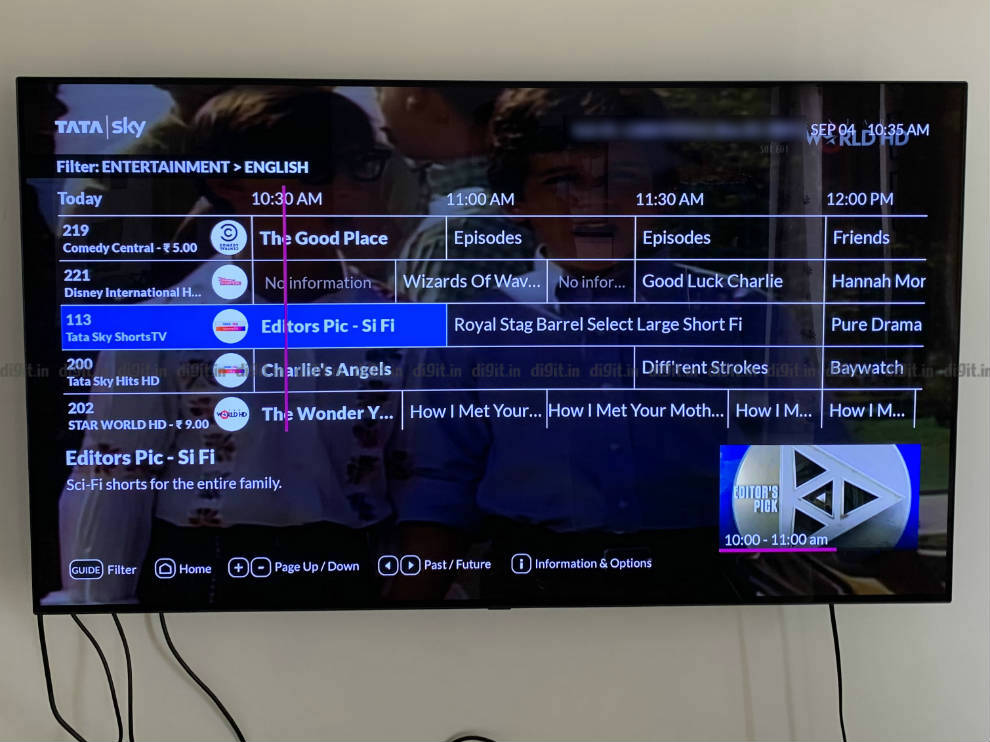 Guide lets you filter channels on the Tata Sky Binge+ Box.