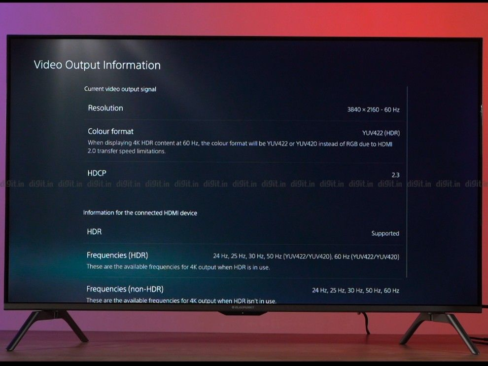 The Blaupunkt TV can display games in 4K 60Hz with YUV 422 HDR.