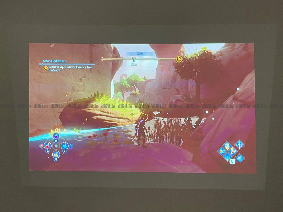 Nintendo Switch gaming on the BenQ GS2 portable projector.