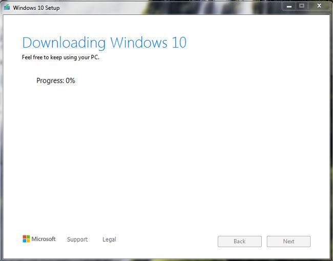 Downloading windows 10