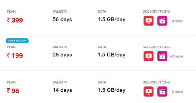 Jio Data Prepaid Plans Under Rs 500