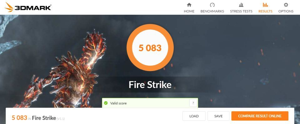 3DMark Firestrike score NUC Pro Chassis Element