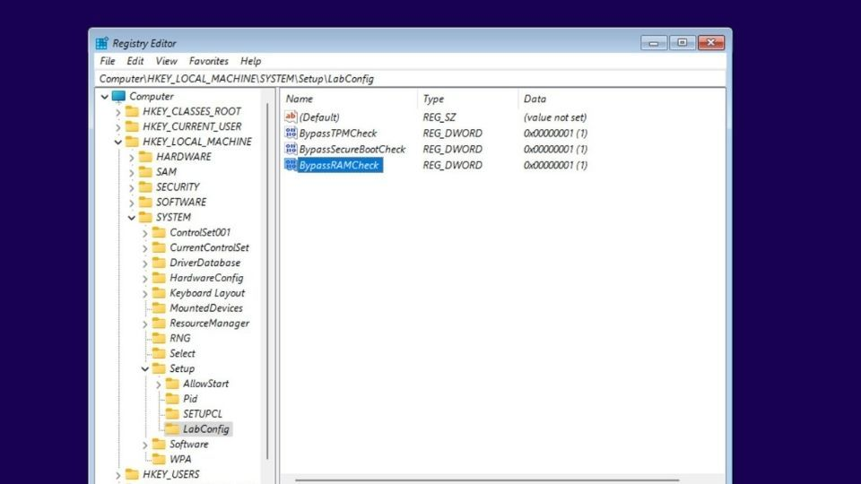Registry Editor in Windows