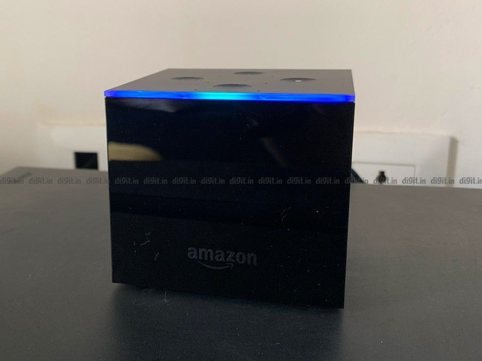 When you call Alexa, the front edge of the device glows blue.