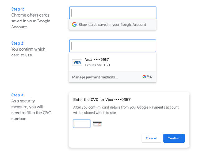 Google Chrome Payments Update