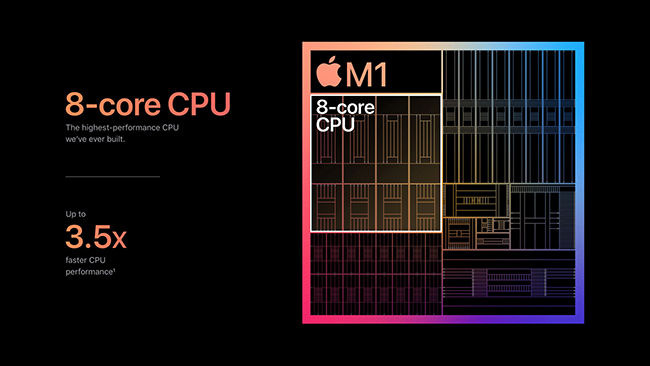 Apple's new M1 chip features 8-core CPOU and up to 8GPU cores