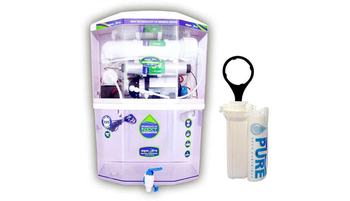 Aquaultra Transparent 15 L RO + UV + UF + TDS Water Purifier (Transparent)