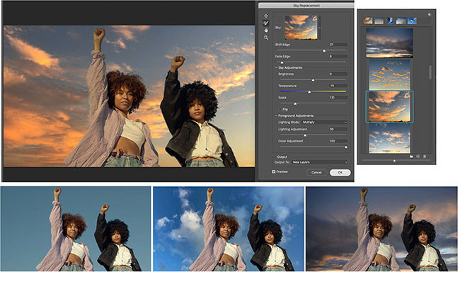 Adobe Photoshop gets automatic sky repacement, a feature that will not only replace the sky, but also colour match it to the original shot