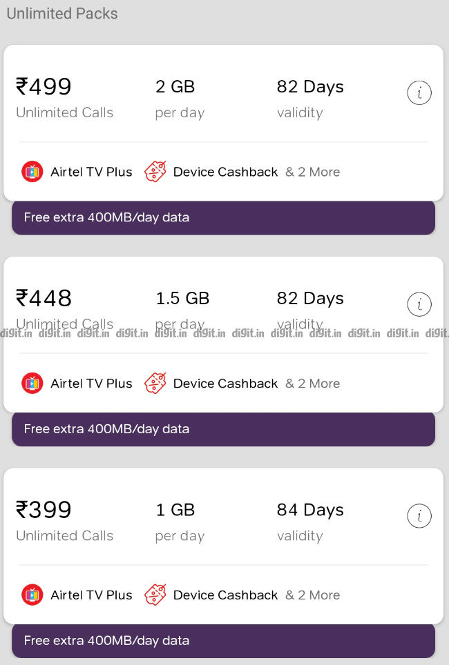 Airtel Rs 399, Rs 448 and Rs 499 unlimited prepaid plans refreshed