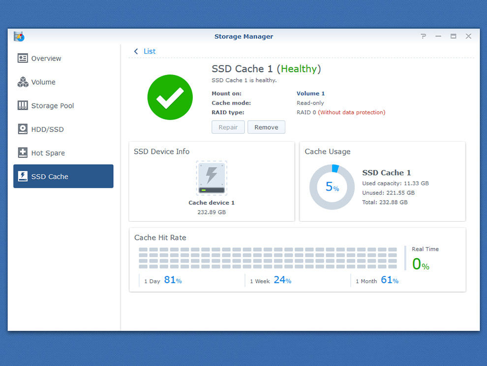 Synology DiskStation DS920+ Cache hit ratio