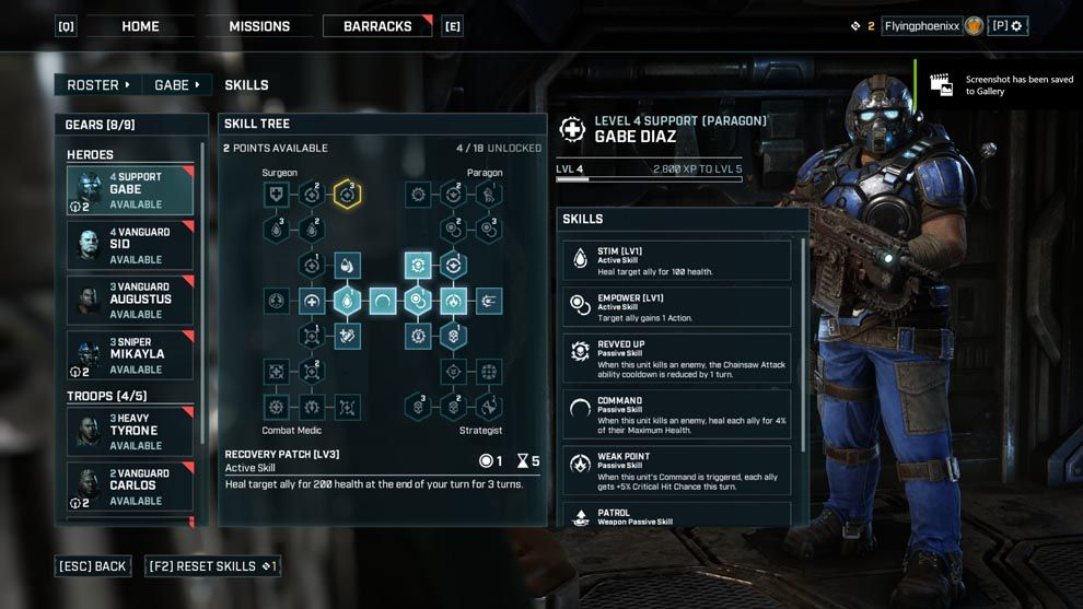 Gears Tactics features a skill tree with a rather large number of skills available. Each character can be equipped with upto 4 skills at a time