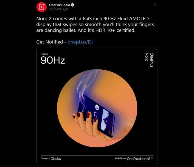 OnePlus Nord 2 Screen Specification leak