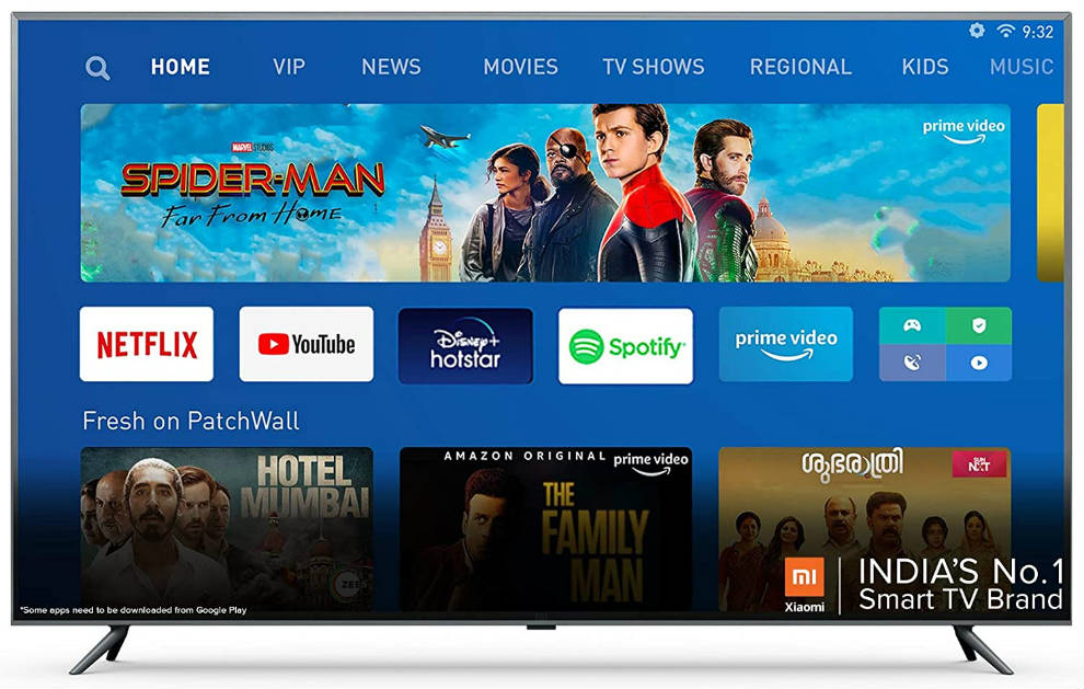 The 65-inch Mi TV runs on Android TV and PatchWall UI.