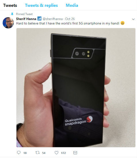 Qualcomm employee shows off world's first 5G smartphone on