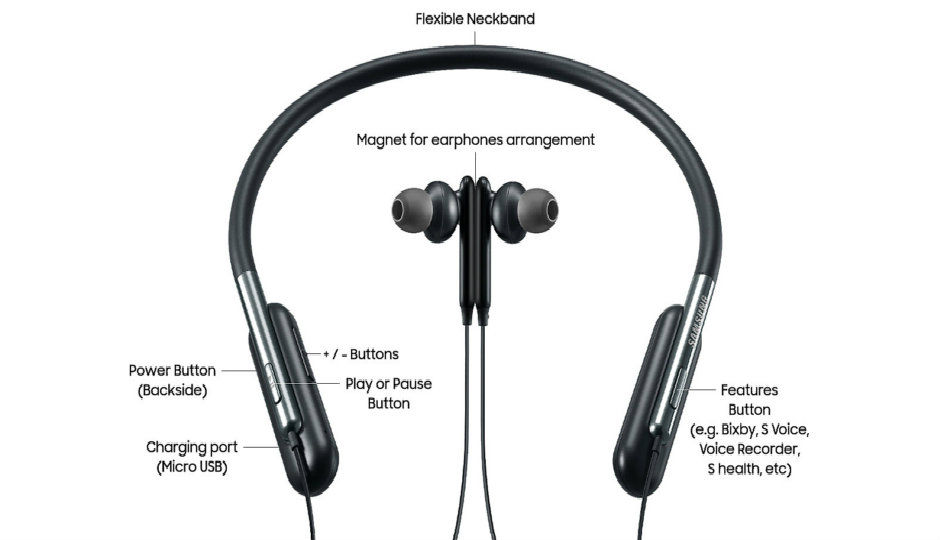 samsung launches u flex headphones with flexible neckband