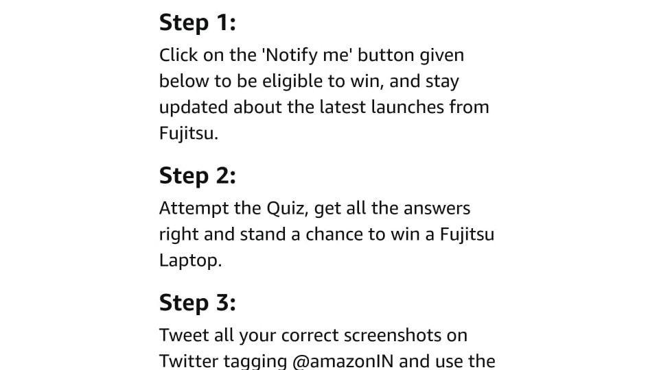 Amazon Fujitsu Laptop Quiz