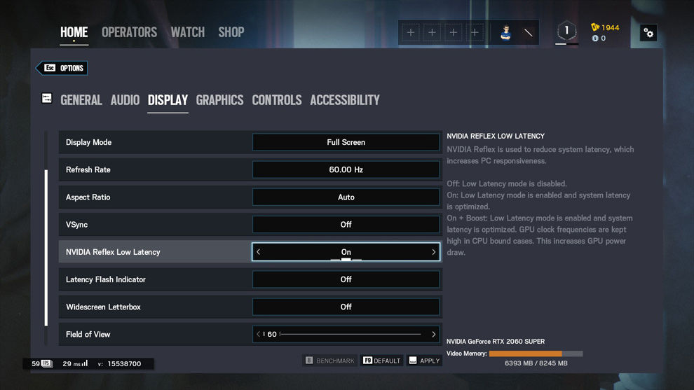 NVIDIA Reflex Tom Clancy's Rainbow Six Siege Settings