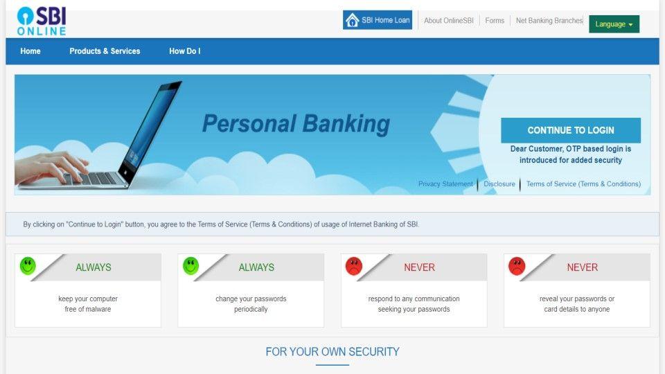 SBI Online banking
