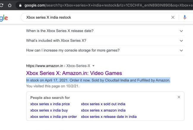 Xbox Series X India restock in April?