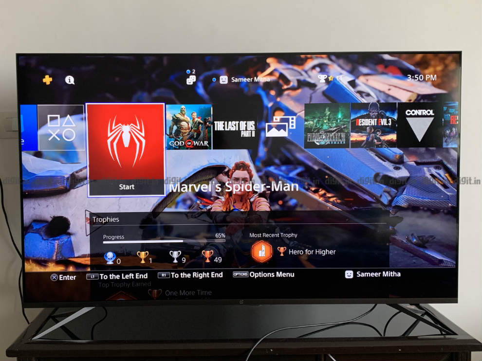 Gaming on the OnePlus U TV using a PS4 Pro