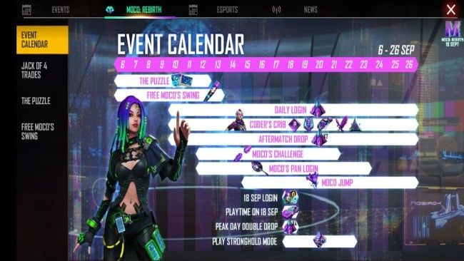 Free Fire Moco Rebirth Event: Multiple events lined up for this month
