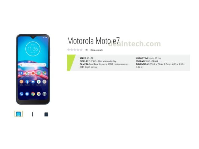 Moto E7 specifications leaked in retail listing