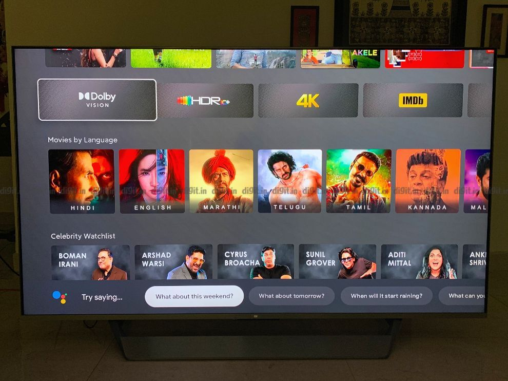The Mi TV runs on XIaomi's PatchWall UI.
