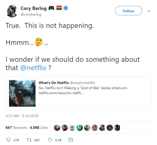 Netflix Is Not Making A God Of War TV Series, But The Game