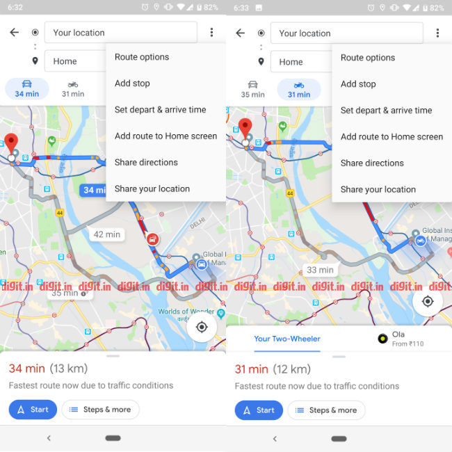 Google Maps get departure/arrival time functionality on Android on