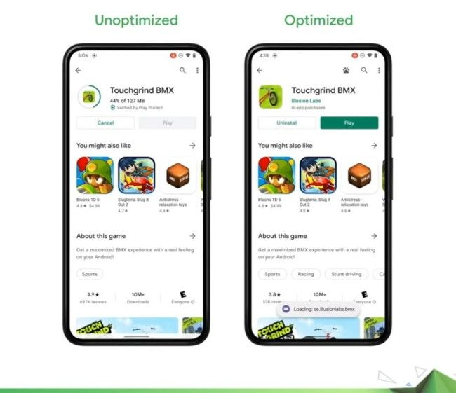 Android 12 fast game download feature