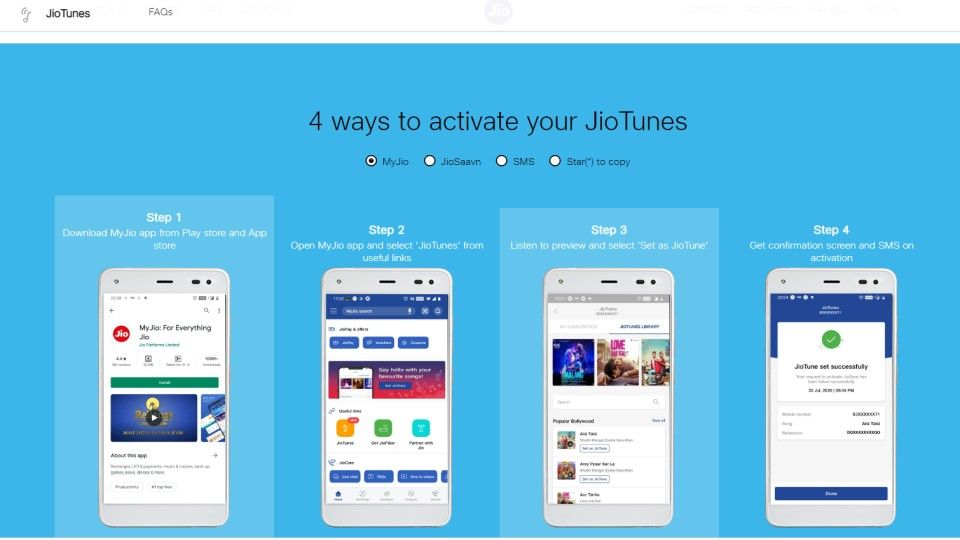 How to set JioTunes via SMS