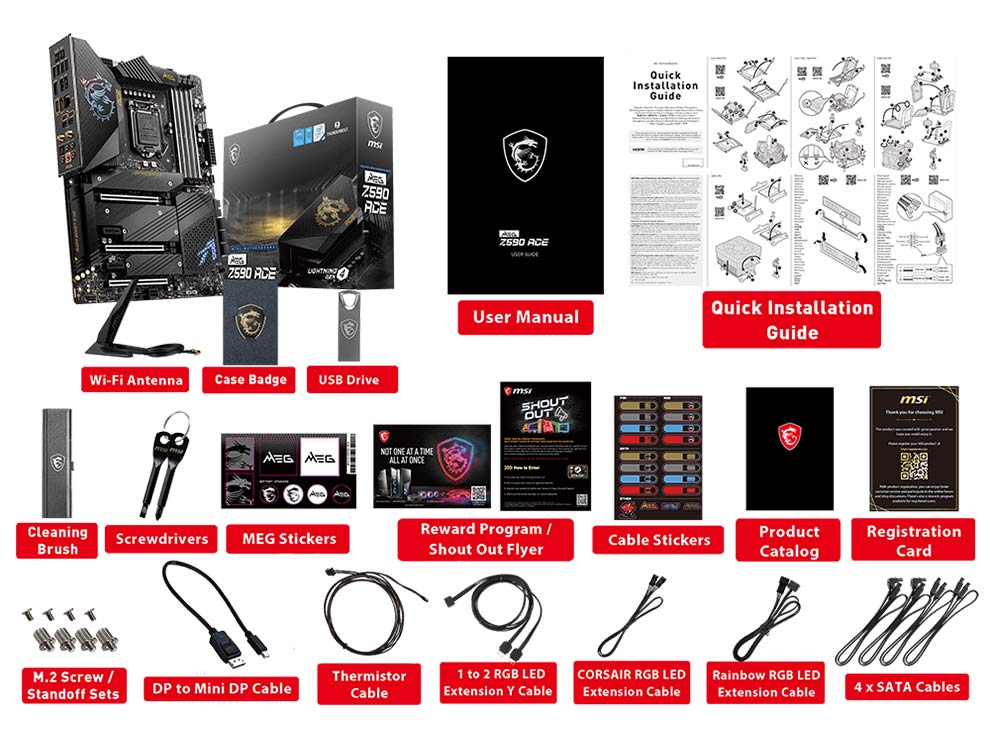 MSI MEG Z590 ACE Gaming Motherboard for Intel 11th Gen package contents