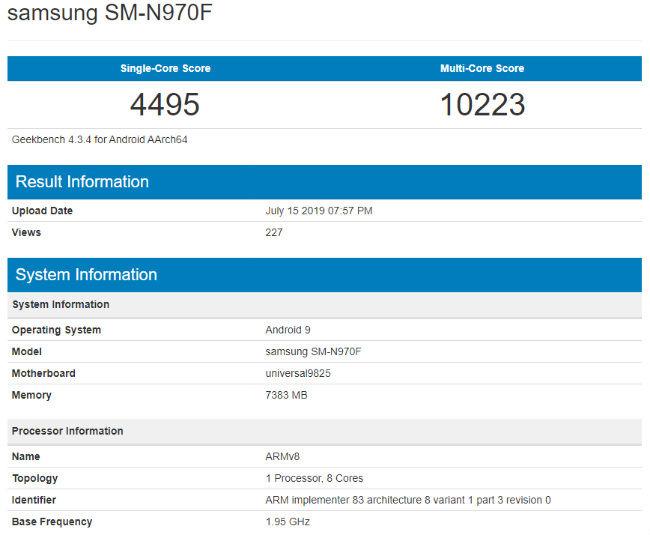 Samsung Galaxy Note 10 Geekbench