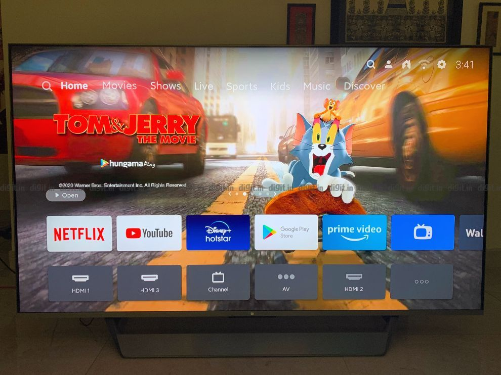 PatchWall UI on the Mi QLED TV puts content before the streaming service.