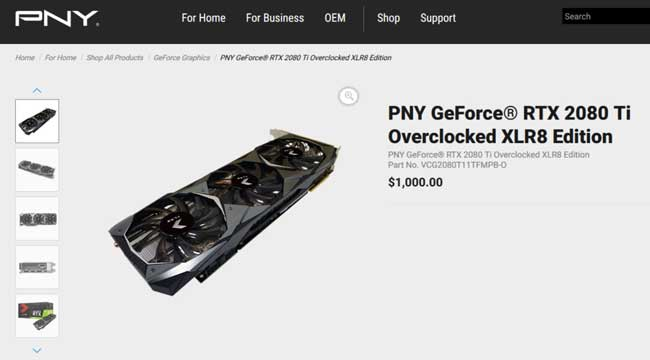 PNY GeForce RTX 2080 Ti Pricing