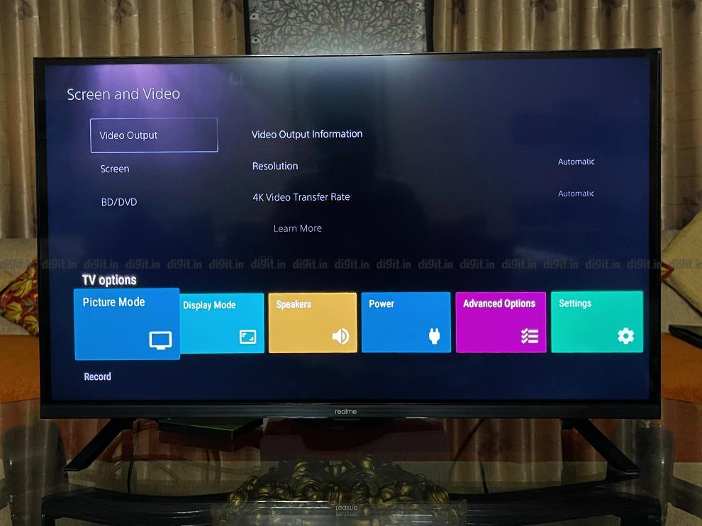 Realme 32-इंच FHD टीवी सेटिंग्स।