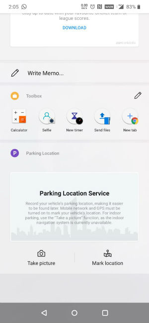 Screenshot of Parking Location Service in Google Feed on OnePlus 7 Pro
