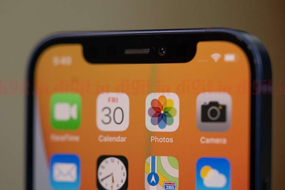 The Apple iPhone 12 features an OLED display