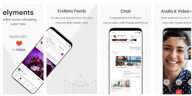 first indian social media app Elyments