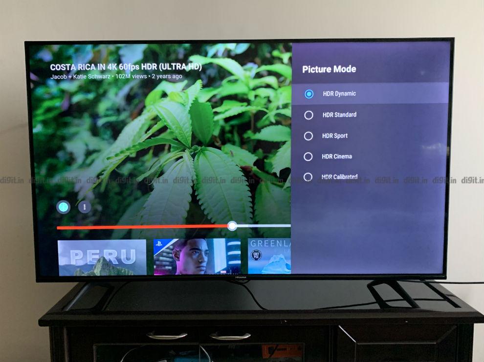 Hisense TV HDR picture settings